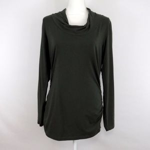 Cabi Dark Green Cowl Neck Top Large Ruched Sides